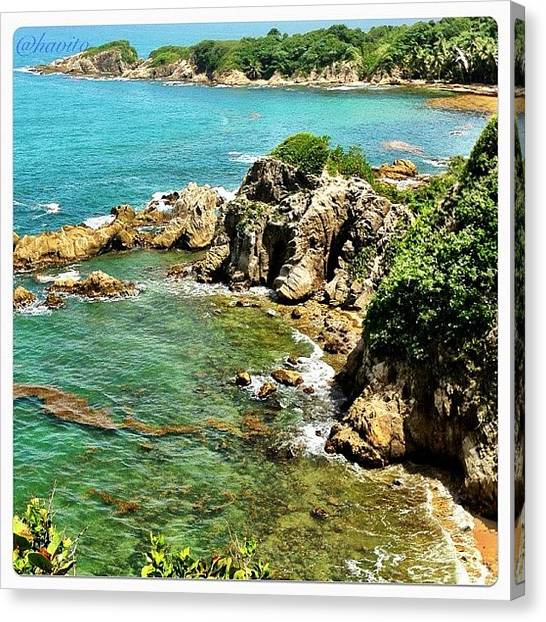 Beach Cliffs Canvas Print - #humacao #puertorico #palmasdelmar by Havito Nopal