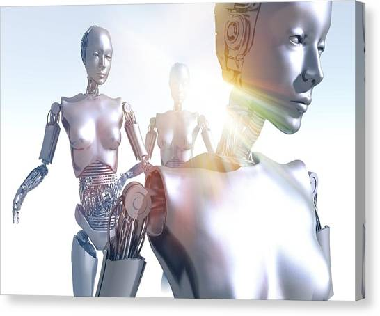 Automaton Canvas Print - Humanoid Robots, Artwork by Victor Habbick Visions