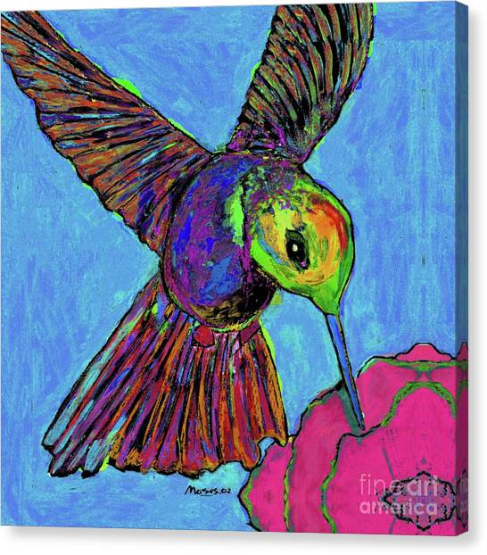 Hummingbird On Blue Canvas Print