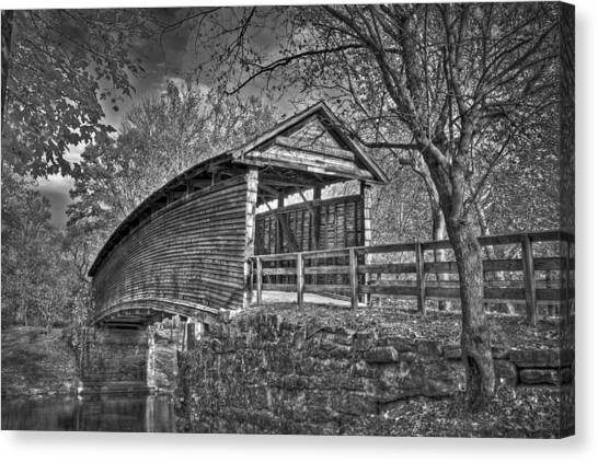 Canvas Print featuring the photograph Humpback Bridge Bw by Williams-Cairns Photography LLC