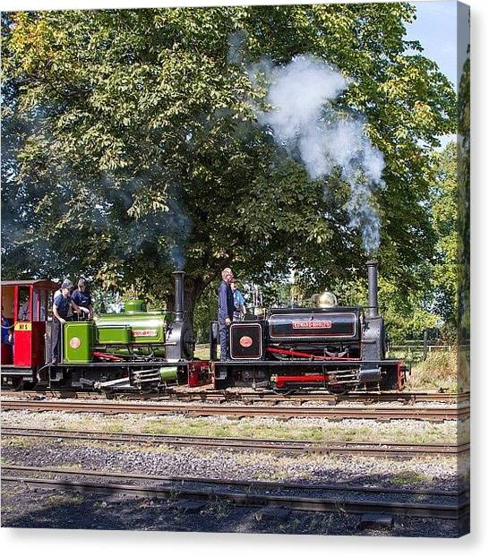 Locomotive Canvas Print - Hunslet Quarry Locos Depart From Pages by Dave Lee