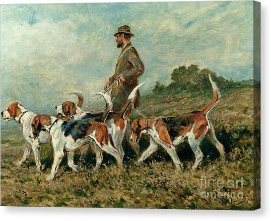 Dog Walking Canvas Print - Hunting Exercise by John Emms