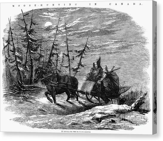 Sleds Canvas Print - Hunting: Moose, 1858 by Granger