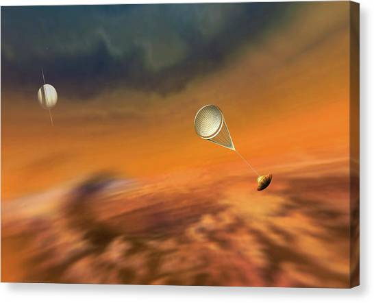 Saturn Canvas Print - Huygens Probe Lands On Titan by Don Dixon
