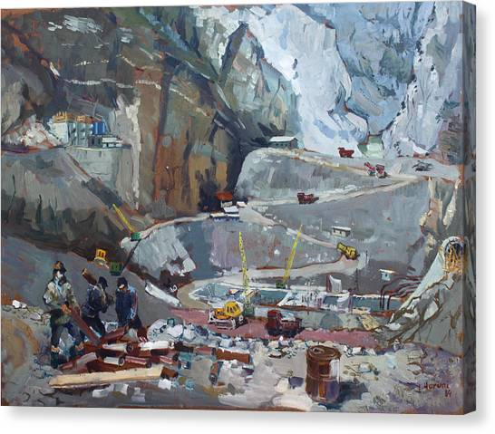 Construction Canvas Print - Hydropower Koman by Ylli Haruni