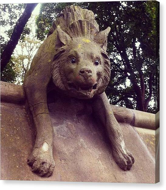 Sculptors Canvas Print - Hyena On Cardiff Castle Animal Wall by Gareth Thompson