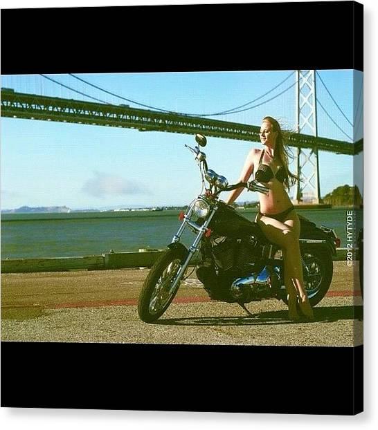 Harley Davidson Canvas Print - #hytydemedia #baybridge #sanfrancisco by Sunshine SD
