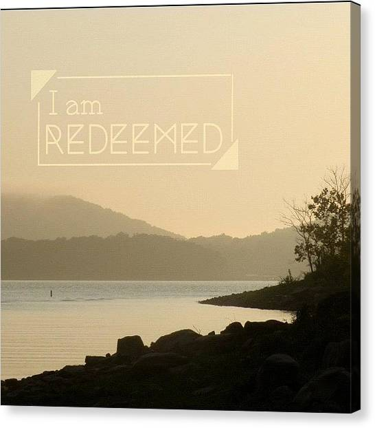 Lake Sunsets Canvas Print - I Am Redeemed. Colossians 1:14 • by Traci Beeson