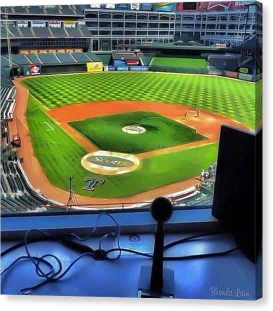 Texas Rangers Canvas Print - I Love Baseball by Rhonda L