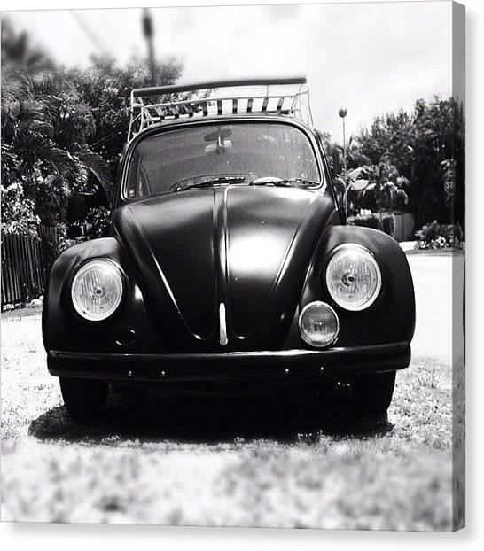 Beetles Canvas Print - I Love Matte Black Bugs. #beetle #vw by Invisible Cirkus