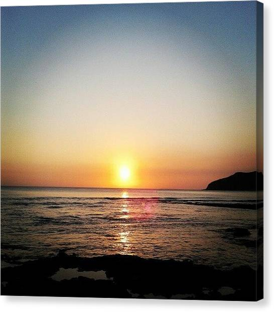 Liquor Canvas Print - I Love Sunset #sea #sky #sunset #orange by Gin Zhao Yun