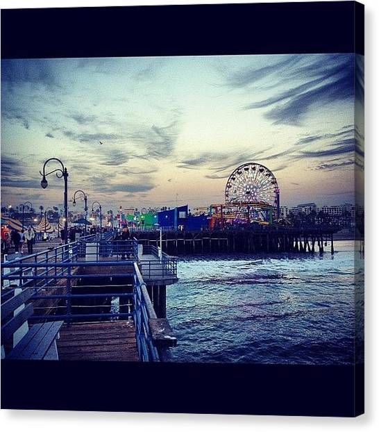 Santa Monica Pier Canvas Print - I Really Like This Picture #repost by Adrian Cazares