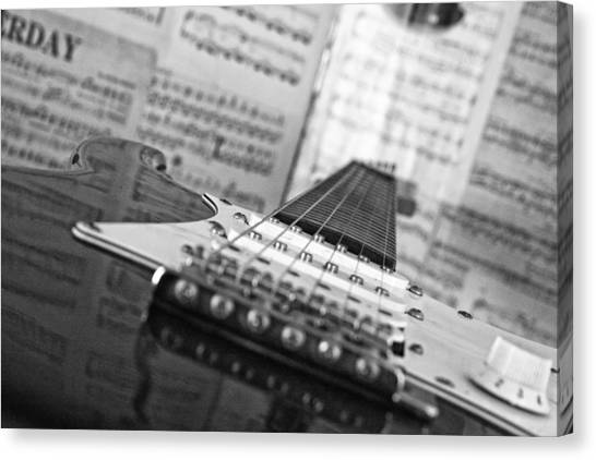 Ibanez Six String Black And White Canvas Print