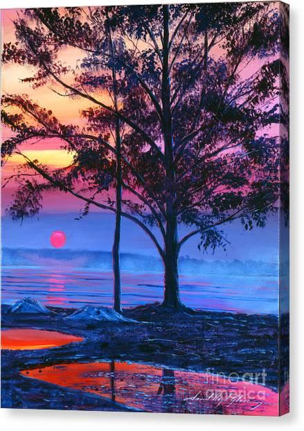Lavendar Canvas Print - Ice Blue Lake by David Lloyd Glover