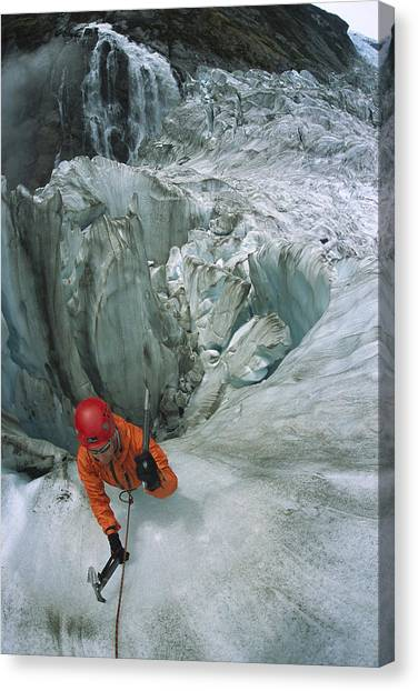 Fox Glacier Canvas Print - Ice Climber On Steep Ice In Fox Glacier by Colin Monteath