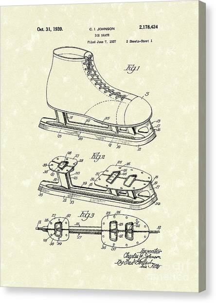 Figure Skating Canvas Print - Ice Skate 1939 Patent Art by Prior Art Design