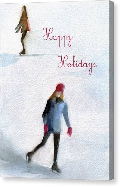 Skating Canvas Print - Ice Skaters Holiday Card by Beverly Brown Prints