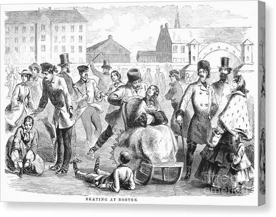 Sleds Canvas Print - Ice Skating: Boston, 1859 by Granger