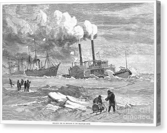 Sleds Canvas Print - Icebreaker, 1877 by Granger