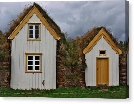 Icelandic Turf Houses Canvas Print