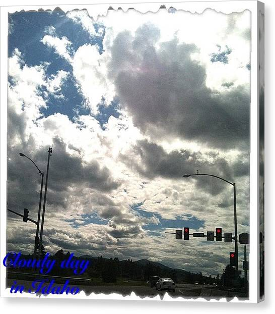 Stoplights Canvas Print - #idahogram #sun #clouds #idaho by Shaunta Heilman