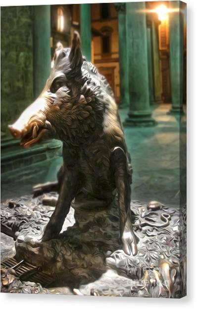 Il Porcellino - Florence Italy Boar Statue Canvas Print