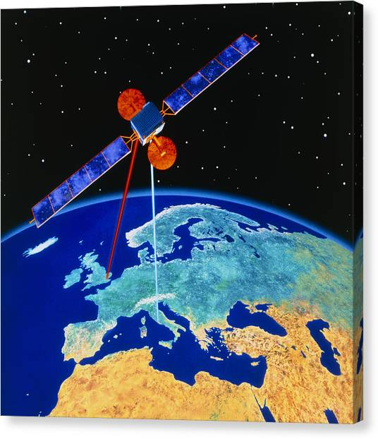 Comsats Canvas Print - Illustration Depicting A Communications Satellite by Julian Baum