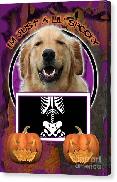 I'm Just A Lil' Spooky Golden Retriever Canvas Print by Renae Crevalle