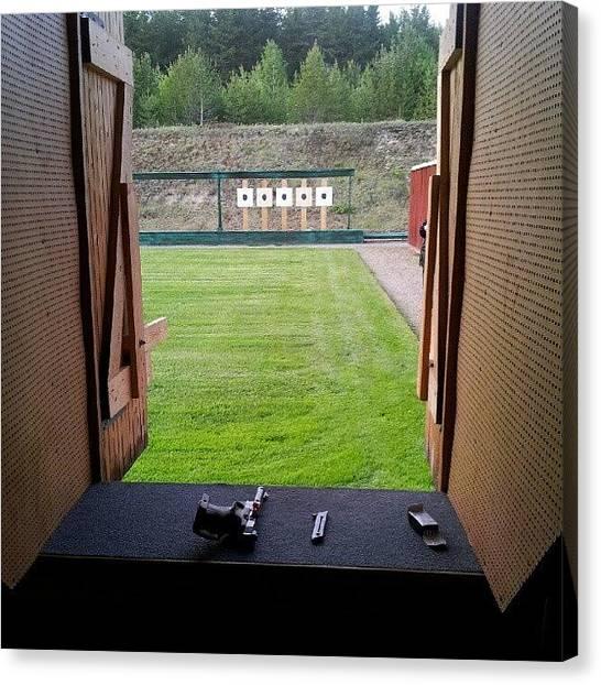 Guns Canvas Print - Im Shooting Range Too! Not Quite Fun As by Robin Hedberg