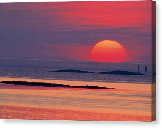 Sunset Horizon Canvas Print - Image Of The Solar Disc Upon The Horizon At Sunset by Pekka Parviainen