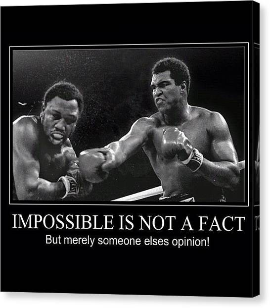 Joe Frazier Canvas Print - Impossible Is Not A Fact by Nigel Williams