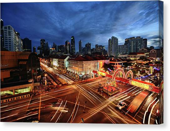 Singapore Skyline Canvas Print - Impressive Water Dragon On Street by Andrew JK Tan