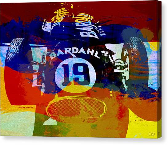Formula Car Canvas Print - In Between The Races by Naxart Studio