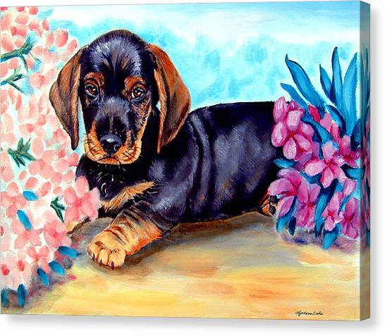 Dachshunds Canvas Print - In Mom's Flowers - Dachshund by Lyn Cook