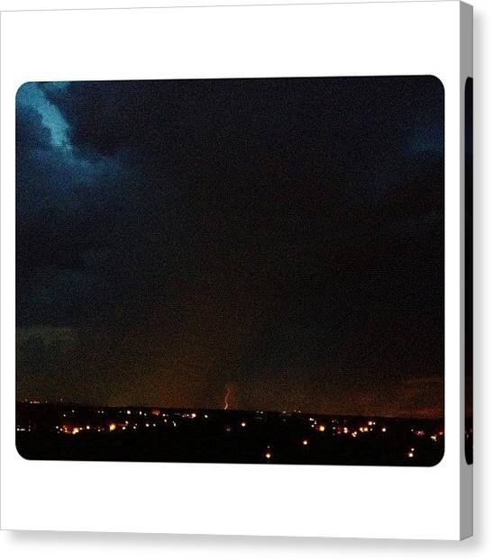 Lightning Canvas Print - In The Distance #weather #lightning by Elza Hayen
