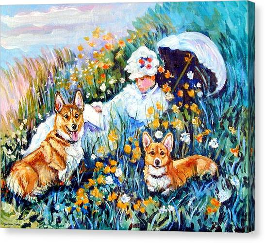 In The Field With Corgis After Monet Canvas Print by Lyn Cook