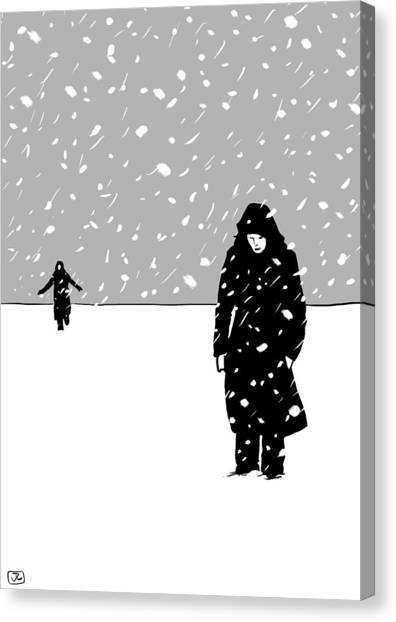 Snow Canvas Print - In The Snow by Giuseppe Cristiano