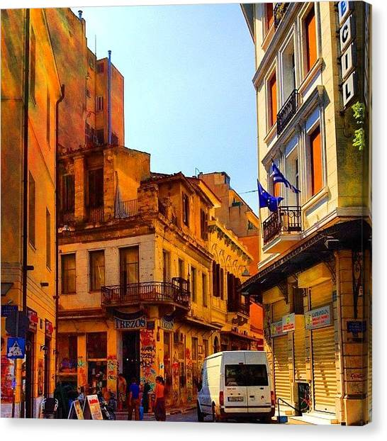 Greek Art Canvas Print - In The Streets Of Athens #street by Dimitre Mihaylov