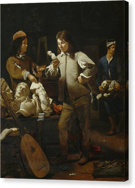 Sculptors Canvas Print - In The Studio by Michael Sweerts