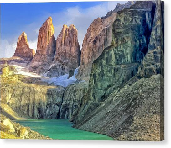 Shark Teeth Canvas Print - In The Torres Del Paine by Dominic Piperata