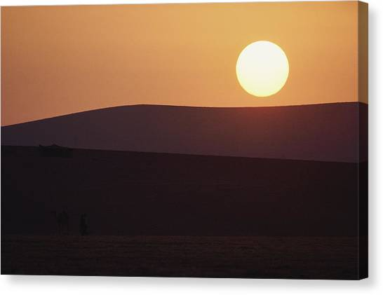 Negev Desert Canvas Print - In This Sunset, A Larger-than-life Sun by James L. Stanfield