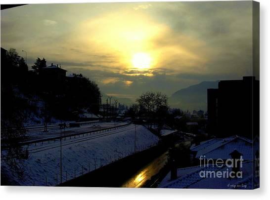 in Ticino una mattina presto guardando verso Brunate  Canvas Print