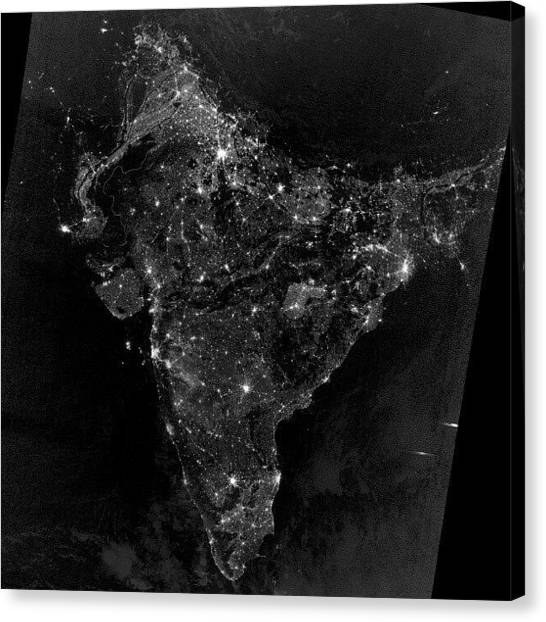 Satellite Canvas Print - #india During #diwali #2012 #night by Parth Patel