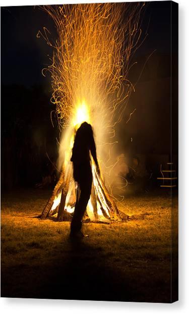 Indian Ceremonial Bonfire Canvas Print by Ralph Brannan