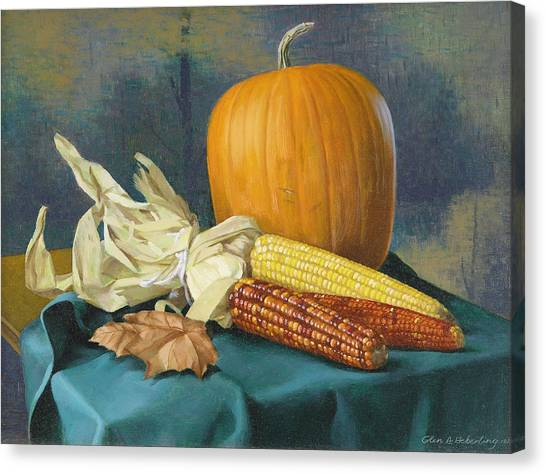 Indian Corn And . . . Canvas Print by Glen Heberling