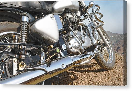 Indian Motorbike Chrome Canvas Print by Kantilal Patel