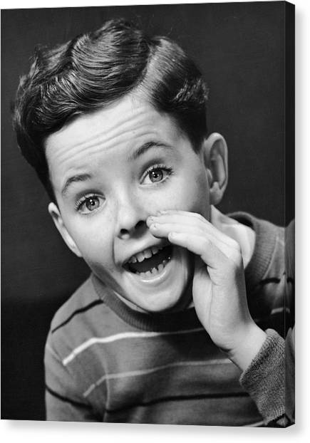 Indoor Portrait Of Yelling Boy Canvas Print by George Marks