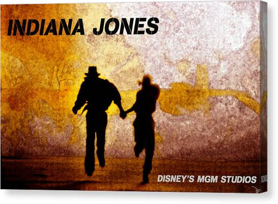 Raiders Of The Lost Ark Canvas Print - Indy And Marions Escape by David Lee Thompson