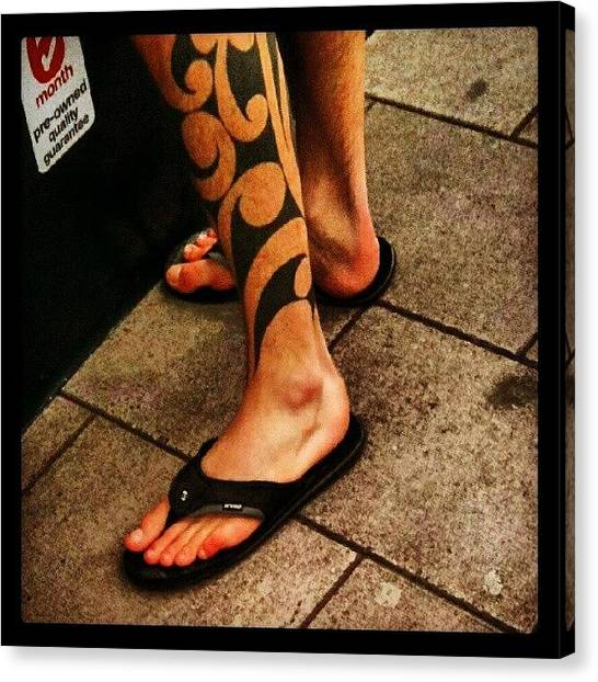 Legs Canvas Print - #ink #tattoo #leg #toes #flipflops by Kevin Zoller