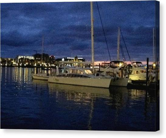 Inner Harbour At Night Canvas Print